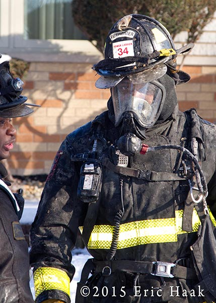 Chicago fireman after fighting a fire