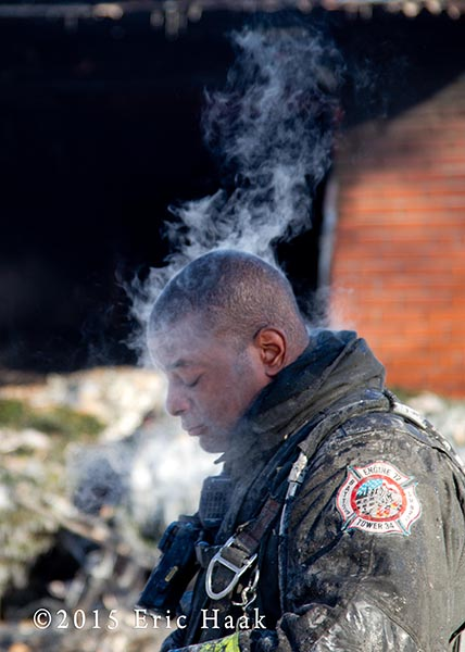 fireman with steam coming from his head