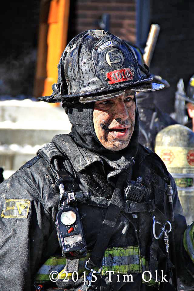 fireman at winter fire scene