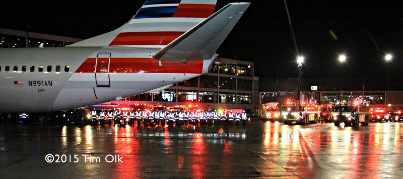 Chicago FD at O'Hare Airport honor deceased firefighter
