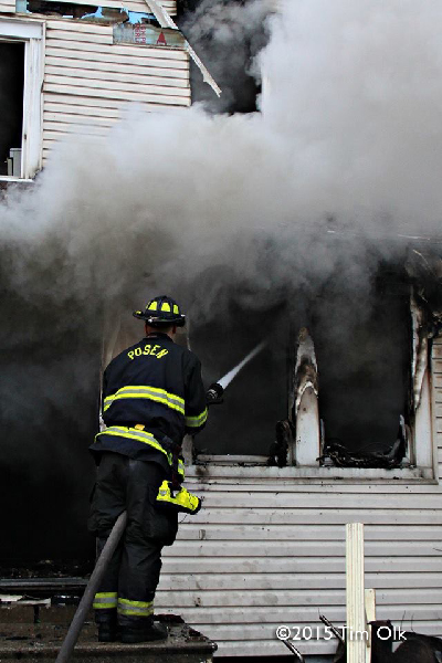house fire with smoke