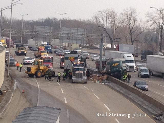 truck crash on the highway
