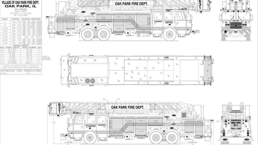 blue prints of fire truck