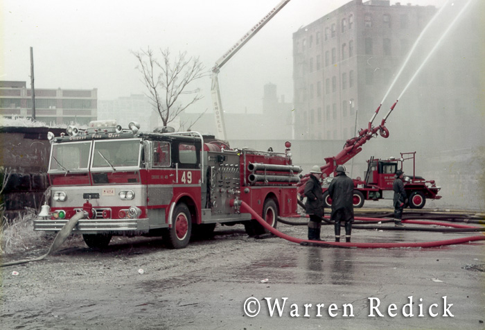 vintage Ward LaFrance fire engine in Chicago and Big John