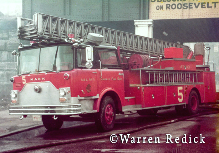 vintage Mack CF Pirsch aerial ladder in Chicago