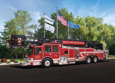 Pierce Dash CF PUC tower ladder for the Niles (IL) Fire Department