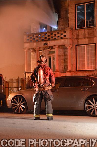fire chief at night fire scene