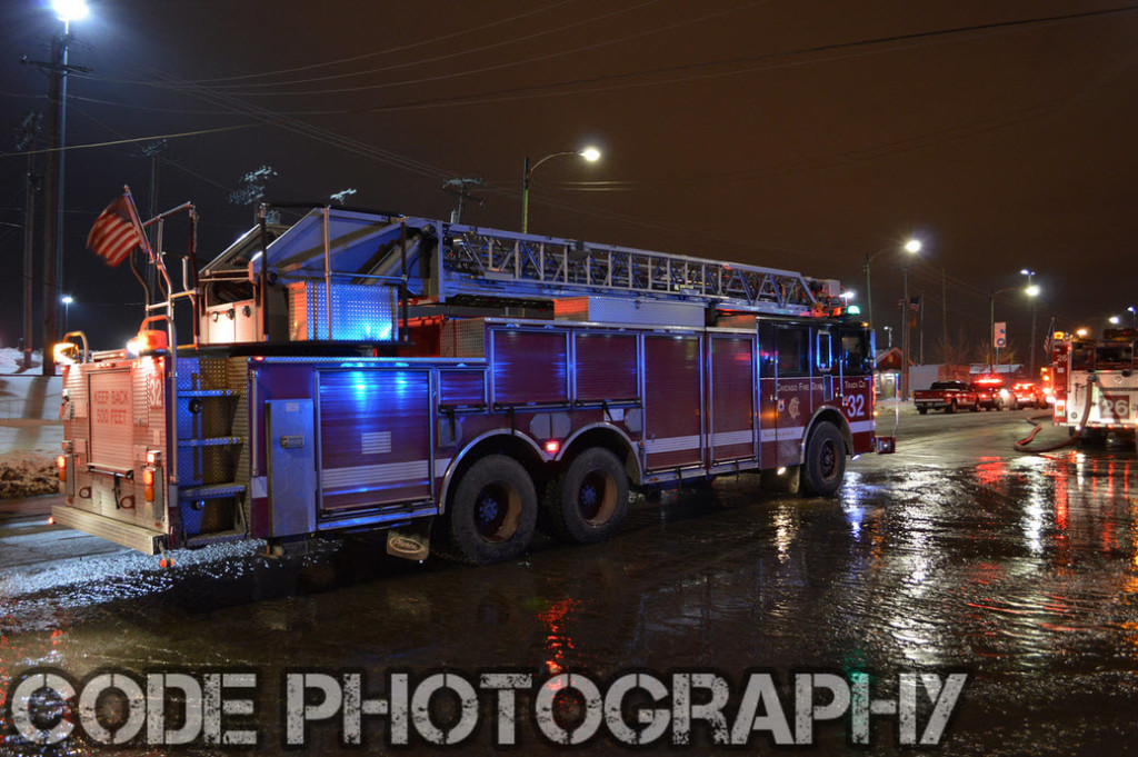 Chicago fire engine at night