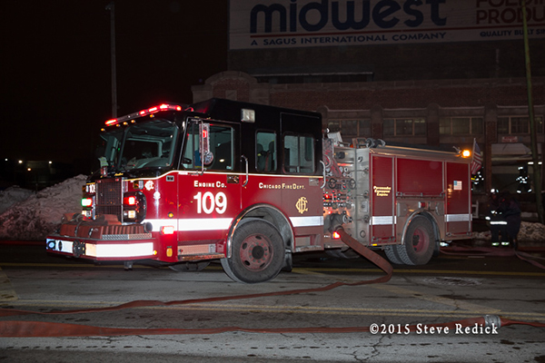 Chicago fire engine working at night