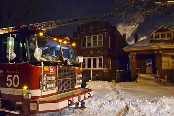 winter fire scene in Chicago