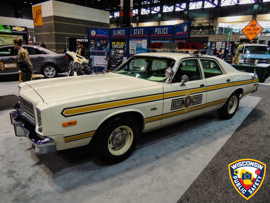 classic Illinois State Police car at the 2015 Chicago Auto Show