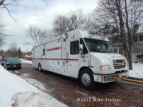 mobile communications unit at fire scene