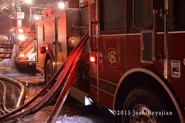 fire engine at night with ice