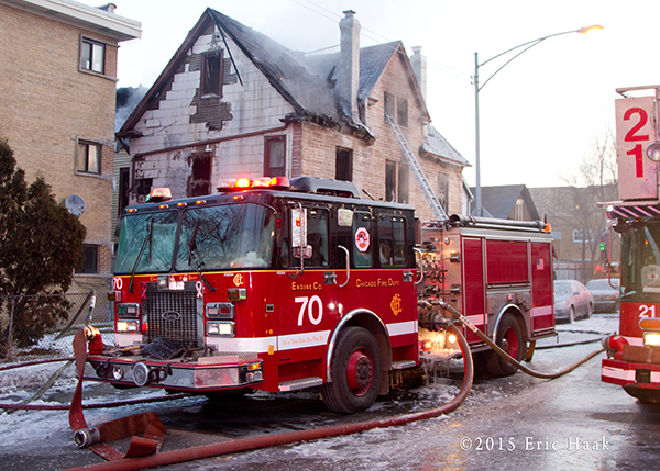 Chicago FD Engine 70 at a fire scene