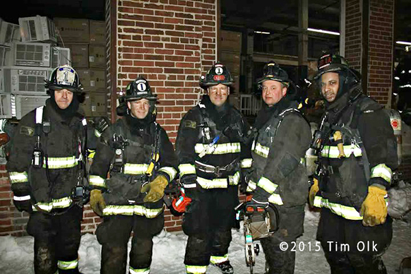 Chicago firemen pose after fire