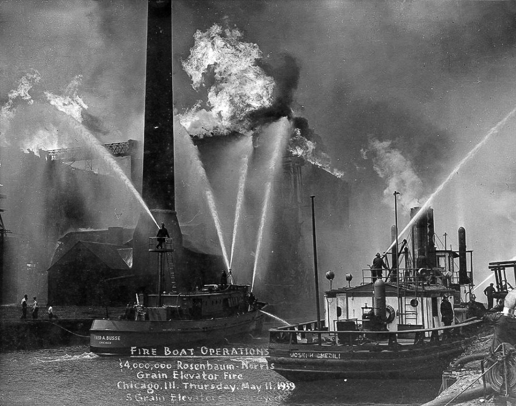 historic photo featuring Chicago FD fire boats the Fred Busse and the Joseph Medill at the Grain Elevator Conflagration of 1939
