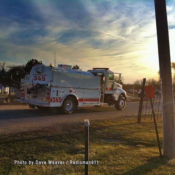 fire truck at sunset