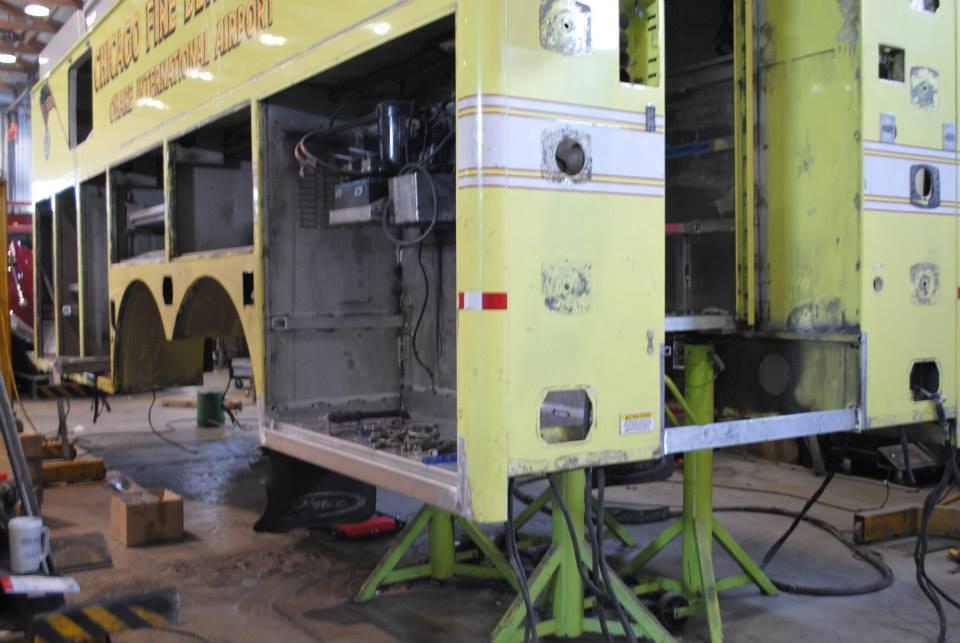 fire truck taken apart