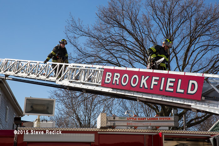 E-ONE aerial ladder truck at fire scene