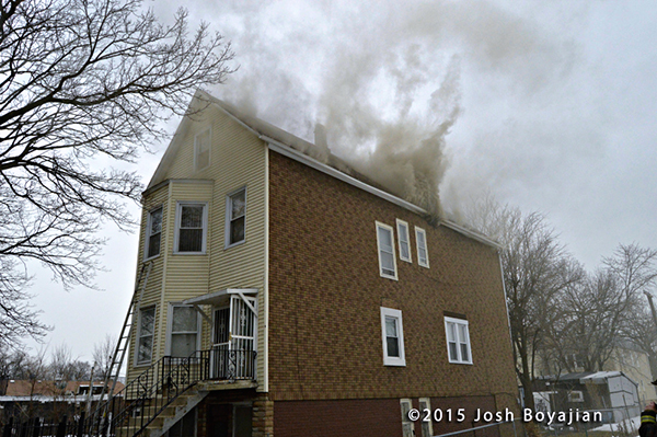smoke from roof at house fire