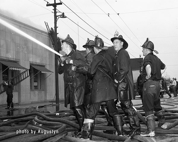vintage photo of Chicago firemen at work