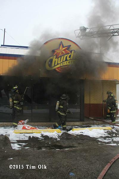 fire at Church's Chicken restaurant