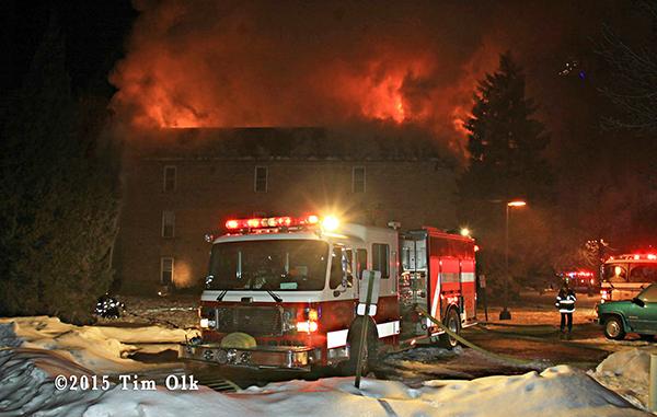 huge apartment building fire