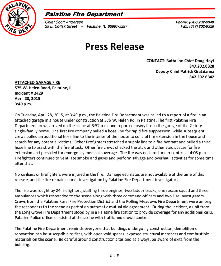 Palatine FD Pres Release