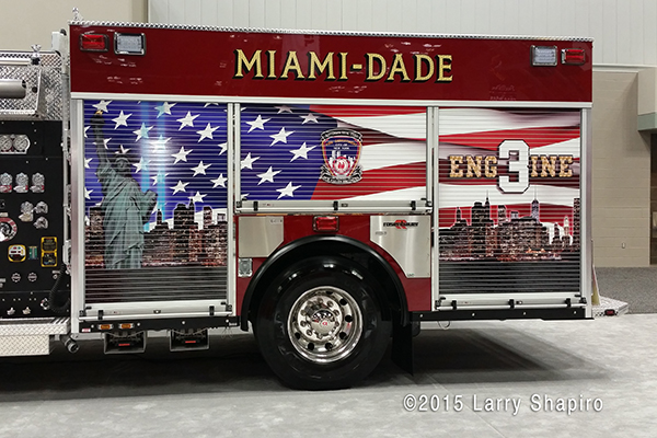 Miami Dade Fire Rescue Engine 3 features a memorial to the 343 FDNY members that were killed on 9/11/01