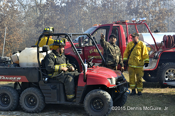 off-road vehicles at brush fire