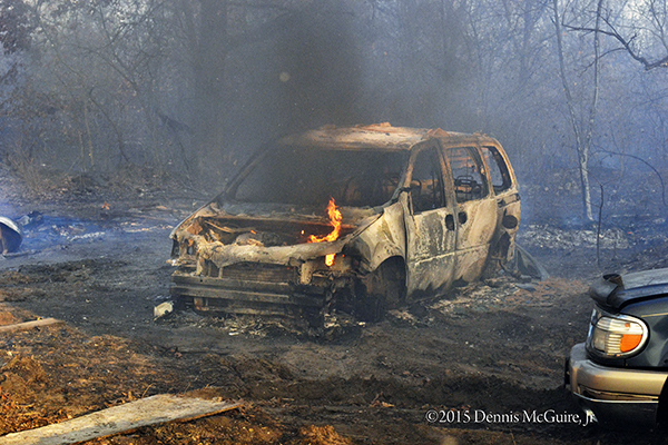 car destroyed by brush fire