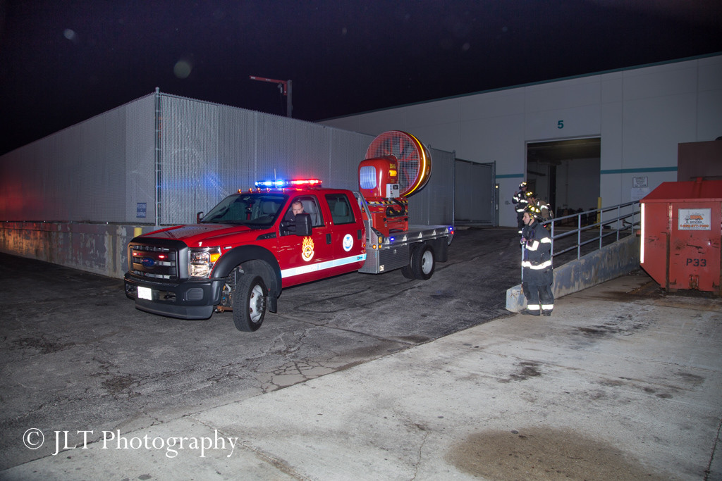 mobile ventilation used to clear smoke from warehouse