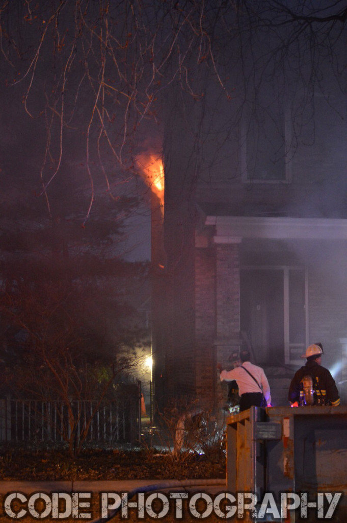 fire blows from second floor window