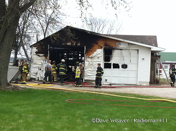 large garage damaged by fire