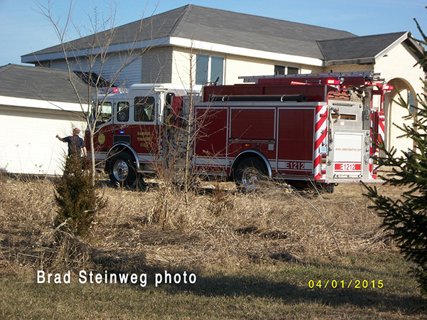 fire engine in driveway