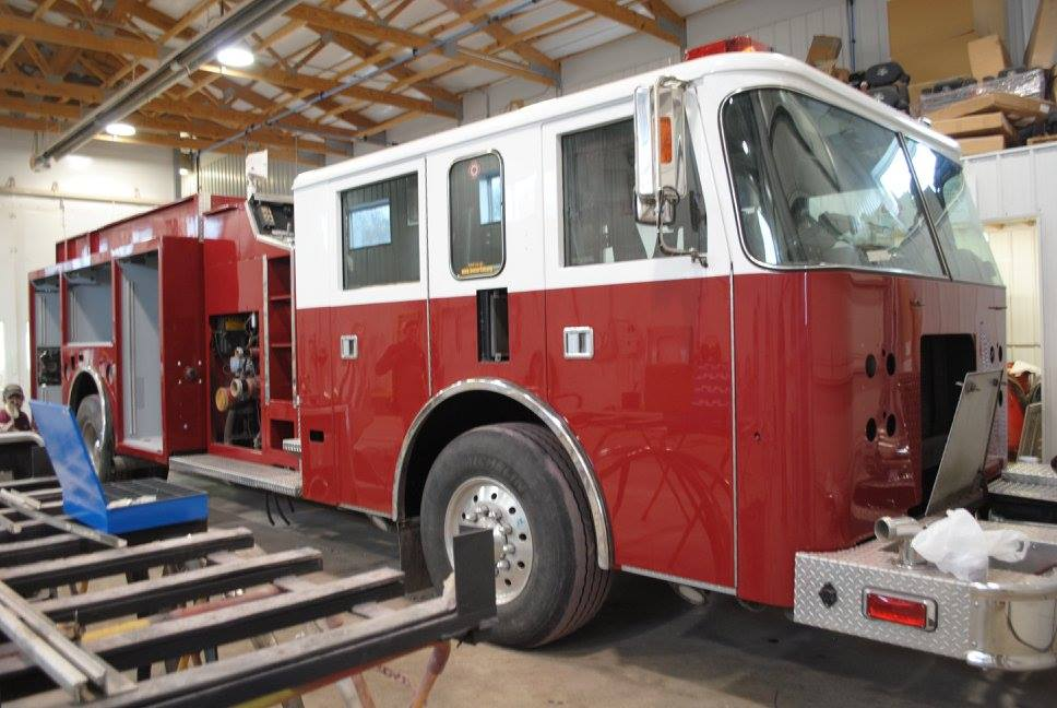 fire engine being painted