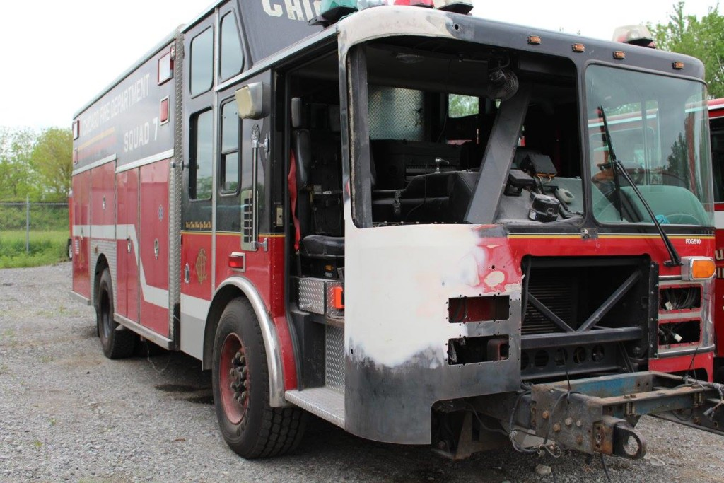 fire truck being repaired after crash