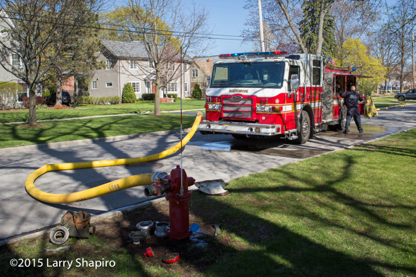 Pierce Impel fire engine hooked to hydrant