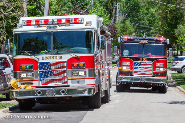 Pierce fire trucks at fire scene Deerfield Bannockburn fire apparatus