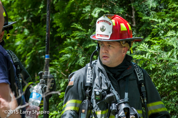 Lake Forest firefighter at fire scene