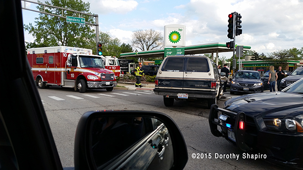 Freightliner ambulance at car crash