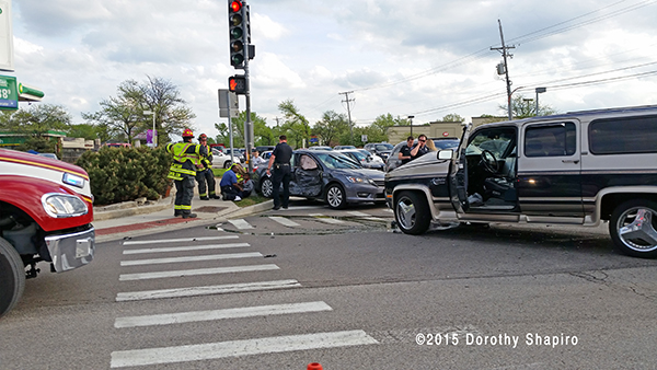 two-car crash at an intersection