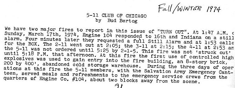 information from historic 5-11 Alarm fire in Chicago