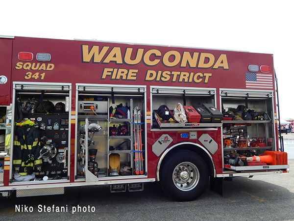 fire truck filled with tools and equipment