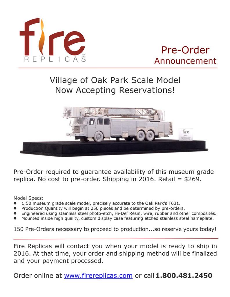 replica model of Oak Park FD E-ONE tower ladder