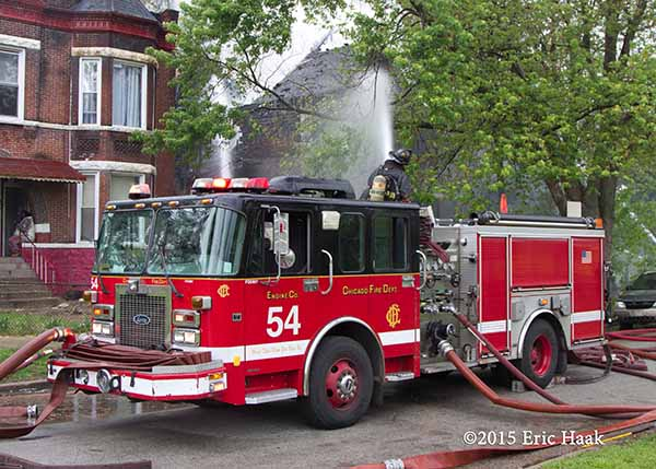 Chicago fire engine pumping at fire scene