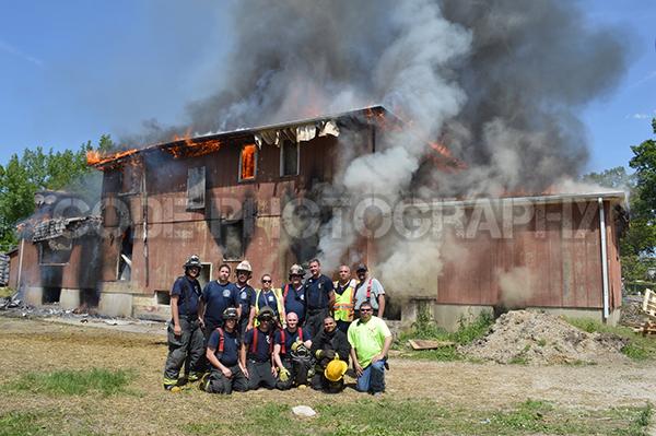 firemen posing during training