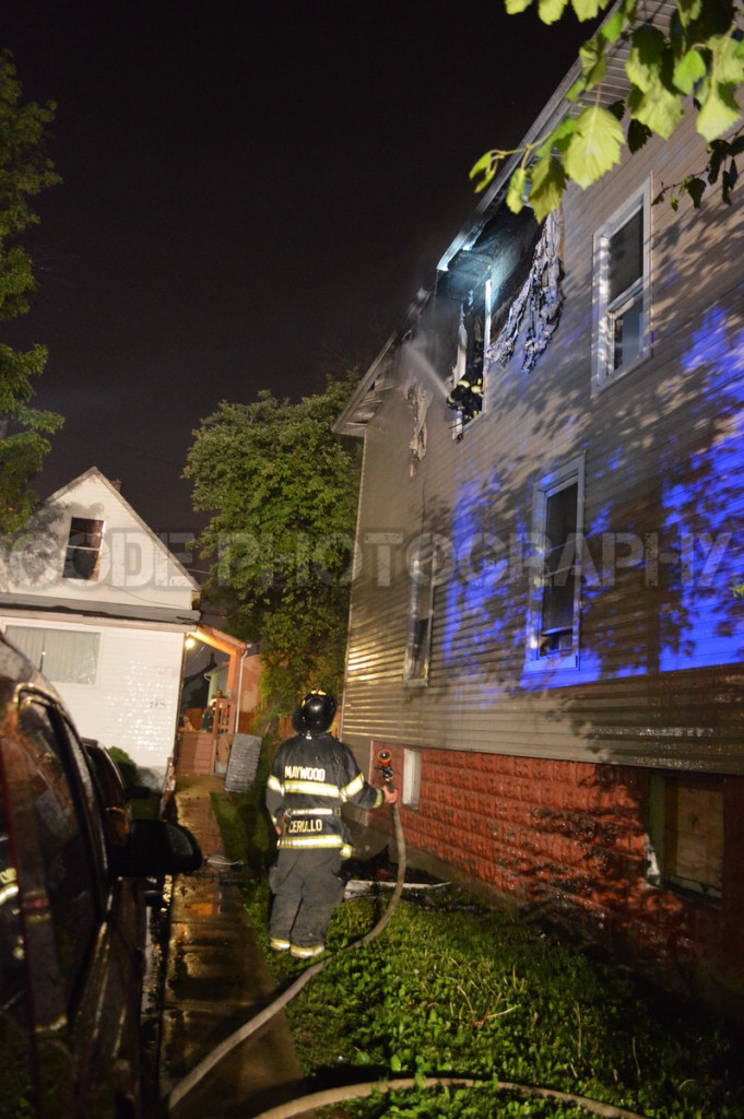 house fire aftermath at night