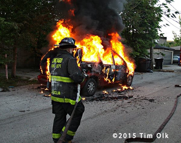 minivan engulfed in flames