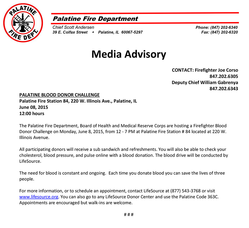 Palatine FD Blood Drive June 8, 2015